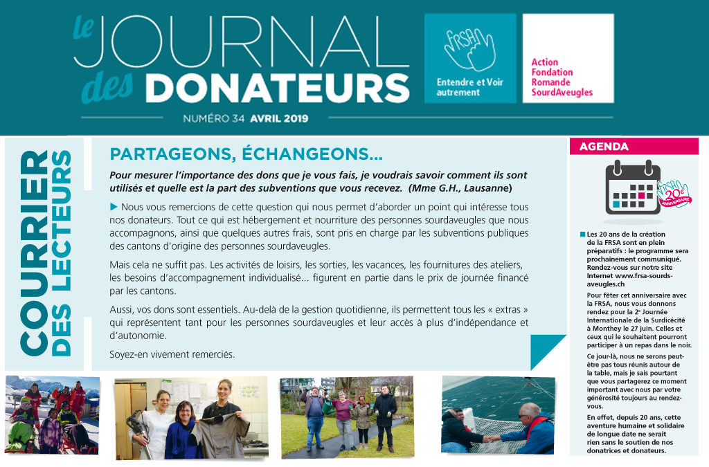 Le journal des donateurs n°34 d'avril